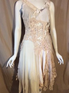 Boho Wedding Dress Beach Wedding Gypsy Wedding Cotton Lace dress Cream Tan Off-white Upcycle by Zollection (Available M-L) Gypsy Wedding, Boho Wedding Dress, Boho Dress, Wedding Dresses, Dress Beach, Apocalyptic Clothing, Crochet Lace Dress, Cotton Lace, Vintage Dresses