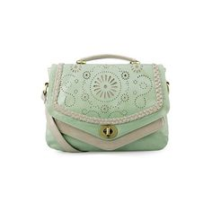 Floral Hollow Flap Green Over Body Bag [AB0640] - $80.99 : ($81) ❤ liked on Polyvore
