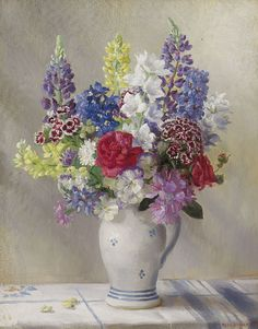 Nora Heysen (1911-2003) —  An English Garden Bunch,1936   (626x800)