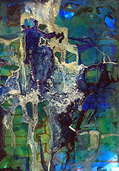 "Metropolitan I by Lou Jordan Alcohol inks on Yupo ~ 7"" x 5"""