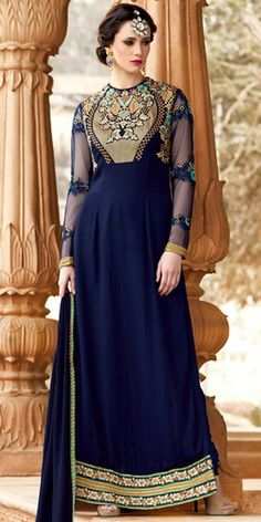 Delighting Navy Blue Color Georgette Salwar Kameez.