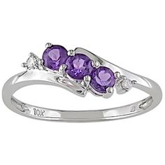@Overstock - Amethyst and diamond ring10-karat white gold jewelryClick here for ring sizing guidehttp://www.overstock.com/Jewelry-Watches/Miadora-10k-White-Gold-Amethyst-and-Diamond-Accent-Ring/3285613/product.html?CID=214117 $129.99