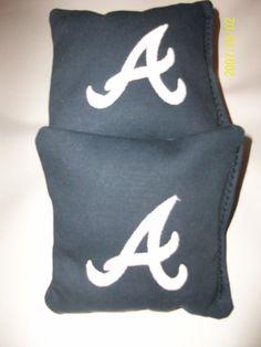 Cornhole Bags Atlanta Braves 4 Embroidered corn hole Bags Tailgate Toss Bean Bags
