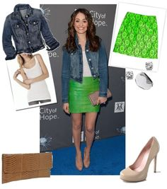 I like the denim jacket matched with bright green.