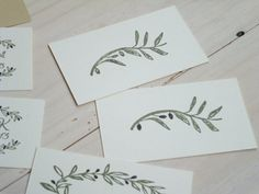 Sketched Olive Branch Olive Wood Stamp by ahueofduckeggblue, $10.00