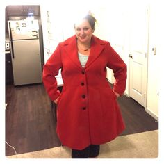 Red pea coat, fitted like A line dress Red pea coat fitted like a line dress, incredibly flattering. Worn on only one occasion (too warm for SoCal). Perfect condition. Size Xl with this brand recommended for 22/24W. Sizing on citychiconline.com. This brand is currently sold in Nordstroms, Bloomingdales, and Macy's. City chic Jackets & Coats Pea Coats
