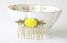 Yellow Flower Cameo Hair Comb / Sunshine Yellow Vintage Inspired Brass Art Nouveau Filigree Hair Comb / Bridesmaids Comb by SmittenKittenKendall on Etsy