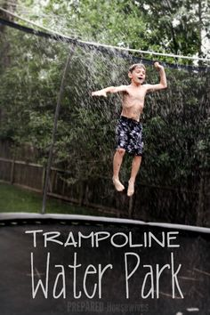 Keep the family cool this summer with a trampoline water park in your very own yard. It's a great way to enjoy the outdoors without breaking the bank. Fun Trampoline Games, Water Trampoline, Backyard Trampoline, Backyard Toys, Trampoline Ladder, Backyard Playground, Backyard Ideas, Garden Ideas, Trampolines