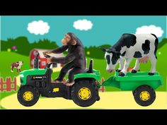 ANIMALS Transport Tractor Toys-Learning Animals Names and Sounds for kids Part 2 Now our tractor driver is chimpanzee all animal will transport to the farm a. Kids Part, Wild Forest, Chimpanzee, Pet Toys, Girl Dolls, Tractors, Cute Babies, Deer