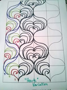 I had meant to put this up around Valentine's Day, because one of these looks an awful lot like hearts, and it's probably as close to hearts as I get. In any case, these three variations are based off the earlier tutorial, with the first line being some form of swirl. The simplest variation is …