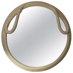 Round Swan Ivory Look Mirror