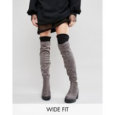 New Look Wide Fit Over The Knee Boots ($67) ❤ liked on Polyvore featuring shoes, boots, grey, side zip boots, thigh high boots, round toe boots, above knee boots and grey boots