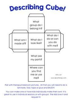 Free! Describing cube.... use in language therapy sessions when working on describing and vocabulary development!