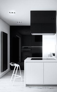 Minimalist Kitchen // black and white kitchen // Cutout Architects