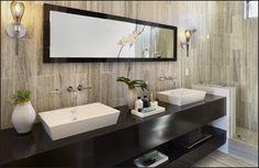 Bathroom - love the faux bois paper or tiles