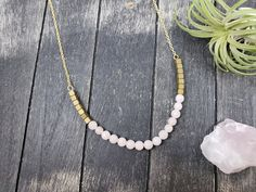 Rose Quartz and Matte Gold Hematite Necklace, Rose Quartz Bib Necklace with Matte Gold Hematite, Pink and Gold Gemstone Beaded Bib Necklace by MayaMadeThis on Etsy Hematite Jewelry, Quartz Jewelry, Gemstone Beads, Orange Earrings, Pearl Stud Earrings, Drop Earrings, Beautiful Gifts For Her, Pink Jewelry, Jewelry Bracelets