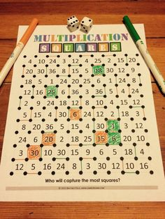 """Want a fun, no-prep multiplication facts game to use in your math centers tomorrow? Read about how we've """"mathified"""" the popular squares game to practice multiplication facts! Multiplication Facts Games, Math Facts, Multiplication Squares, Math Fractions, Math Tutor, Teaching Math, Math Education, Physical Education, Fourth Grade Math"""