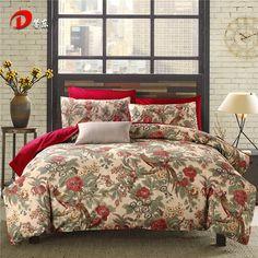 Birds Satin Bed Set Luxury Floral Egyptian Cotton Bedding Set King Queen Size High Quality Bed Linen Duvet Cover Set Z58 #Affiliate