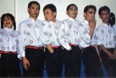 L to R: Akiko Yano, Hideki Matsutake, Kenji Omura, Haruomi Hosono, Ryuichi Sakamoto, Yukihiro Takahashi.  At Hammersmith Odeon (Backstage), London, 1980.
