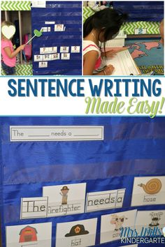 Sentence Writing in Kindergarten can be made easy! Check out how I introduce sentence writing as a literacy center. Then we build on it to make this a year-long literacy activity.