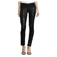 Versace Low Rise Floral Print Leather Pants, Black ($1,748) ❤ liked on Polyvore featuring pants, leather trousers, low rise pants, floral skinny pants, floral print pants and leather zipper pants