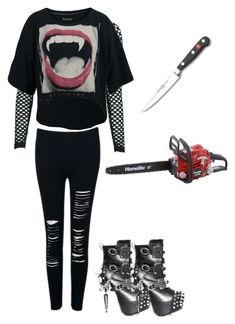 """""""Horror Film Fangirl"""" by disneyswan ❤ liked on Polyvore featuring Religion Clothing, WithChic and GAS Jeans"""