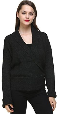 Youshunfushi Fashion Womens Ladies Long Sleeve VNeck Knit Jumper Sweater Pullover Top BlackGrey * Check this awesome product by going to the link at the image. (This is an affiliate link)