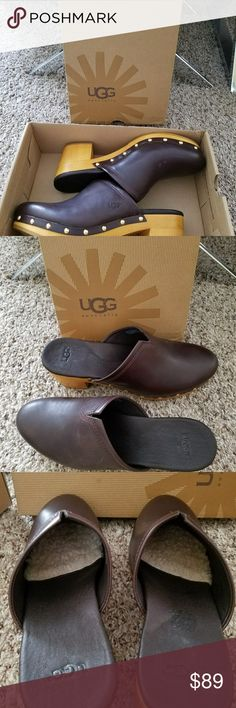 "Ugg Australia Leather mules W Kay Dark Brown leather clogs,  with sheep lining from ball of foot to toe. Low heel ht 2..5"".  New and no signs of wear. UGG Shoes Mules & Clogs"