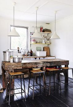 Modern. Industrial. Kitchen. Stools. High Table. Hanging Lights. Design. Decor. Interior. Home.