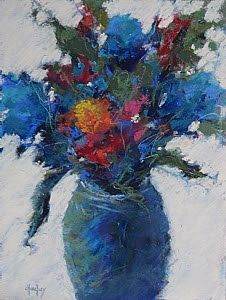 "Original Pastel Floral Still Life Painting ""The Blues"" by Colorado Artist Barbara Churchley"