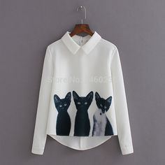 Find More   Information about 2015 spring cat print doll turn down collar long sleeve chiffon shirt pullover shirt female ,High Quality  ,China   Suppliers, Cheap   from Bling Bling love you on Aliexpress.com