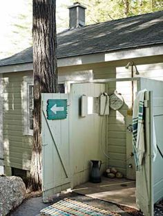Lake House Decorating Ideas - New Hampshire Cabin Decorating - Country Living by guida Outside Showers, Outdoor Showers, Outdoor Pool, Roof Beam, Haus Am See, Lake Cabins, Cabins In The Woods, Beach House Decor, Home Decor