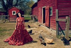 Perry rules the roost in a Valentino Haute Couture guipure lace dress with crocheted flowers. Photographed on location on McKeon Farms in Red Hook, New York. Fashion Editor: Tonne Goodman.