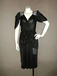 70s dress vintage 70s BLACK SILVER LUREX sexy draped goddess party cocktail disco dress
