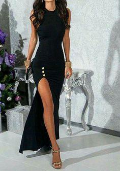 Sexy Black Round Collar Sleeveless High Slit Black Maxi Dress For Women # Sexy Dress - Jewelry Accessories Pretty Dresses, Sexy Dresses, Beautiful Dresses, Fashion Dresses, Prom Dresses, Chiffon Dresses, Dress Prom, Stylish Dresses, Fashion Clothes