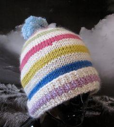 Chunky Stripe Bobble Beanie - nice color combo