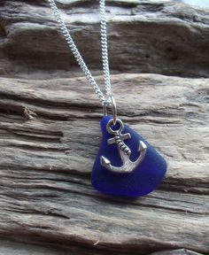 Royal Blue Sea Glass and  Anchor  Necklace  by byNaturesDesign, $16.00