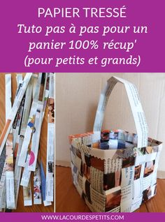 Fabriquer un panier de pâques en papier avec les enfants. Tuto pas à pas de la technique du papier tressé, 100% récup pour aller  à la chasse aux oeufs #paques #lacourdespetits #panier #papiertresse Carton Box, Peaceful Parenting, Home Gadgets, Diy Box, New Years Eve Party, Own Home, Quilling, Origami, Activities For Kids