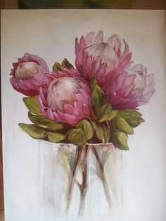 Oil on Canvas. King Proteas. Melissa Von Brughan Art