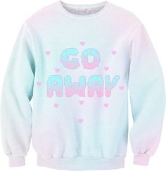 Pastel Clothes Grunge - Go Away Pastel Ombre Sweatshirt. Pastell Fashion, Pastell Goth Outfits, Pastel Goth Fashion, Kawaii Fashion, Cute Fashion, Pastel Punk, Pastel Grunge, Soft Grunge, Mode Kawaii