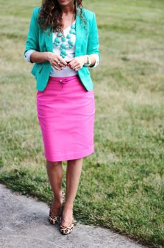 Pink pencil skirt and TEAL blazer