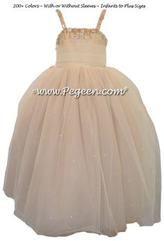 Cotillion or Couture Topaz Fairy Flower Girl Dress by Pegeen.com w/Tulle, Dew Drop crystal tulle and crystal jewels