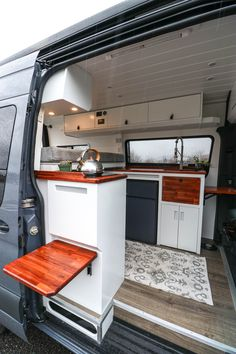 "Driftin' and Dreamin' Sprinter Van Conversion <br> ""Driftin' and Dreamin'"", the 2019 Sprinter 144 built for weekend trips. It has a modular bed, dining area, and even a small garage. Van Conversion Layout, Diy Van Conversions, Van Conversion Interior, Camper Van Conversion Diy, Van Conversion How To, Van Conversion Lighting, Ford Transit Camper Conversion, Sprinter Van Conversion, Mercedes Sprinter Camper Conversion"