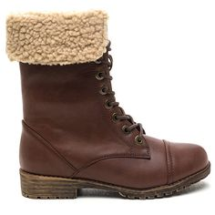 Furry Up Faux Leather Combat Boots BROWN (454770 BYR) ❤ liked on Polyvore featuring shoes, boots, ankle booties, ankle boots, brown, brown ankle boots, brown high heel boots, hiking boots and brown booties