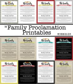 Free Family Proclamation Printables -- with 13 different darling options, there's one for everybody at my3monsters.com !