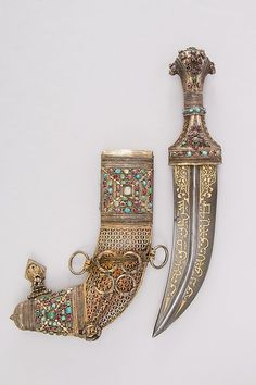 Jambiya Dagger Dated: century Culture: Arabian Medium:. Pretty Knives, Cool Knives, Swords And Daggers, Knives And Swords, Diesel Punk, Indian Sword, Dagger Knife, Celtic Dragon, Royal Jewels