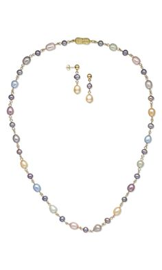 Single-Strand Necklace and Earring Set with Cultured Freshwater Pearls