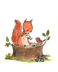 Nursery Art Squirrel Tea Art Print van trafalgarssquare op Etsy