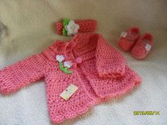 So cute hand crocheted baby girl little cardigan by MadebyMily, $30.00