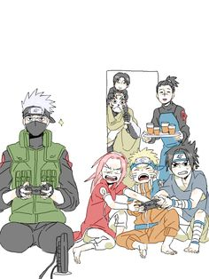 Kakashi you're cheating! Can we just talk about the fact that Sakura, Sasuke, and Naruto are all using the same controller, and that Iruka is bringing them snacks? And I'm assuming that's Yamato and Sai in the doorway.